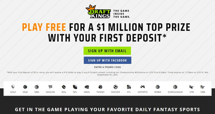 Draft Kings Landing page